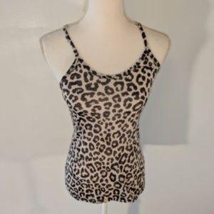 dELiA*s womens tank top black white leopard 753